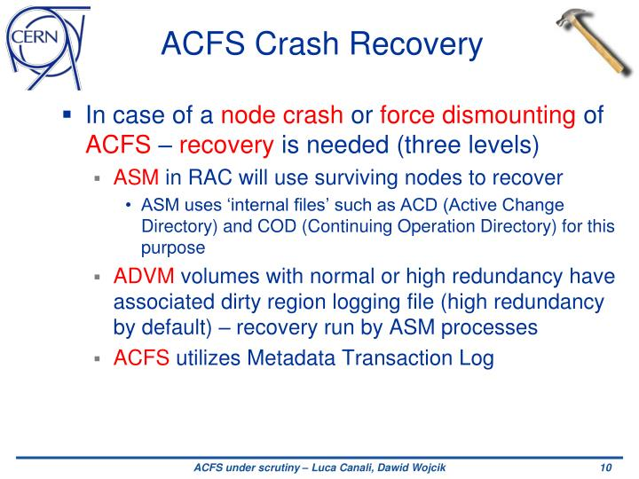 ACFS Crash Recovery
