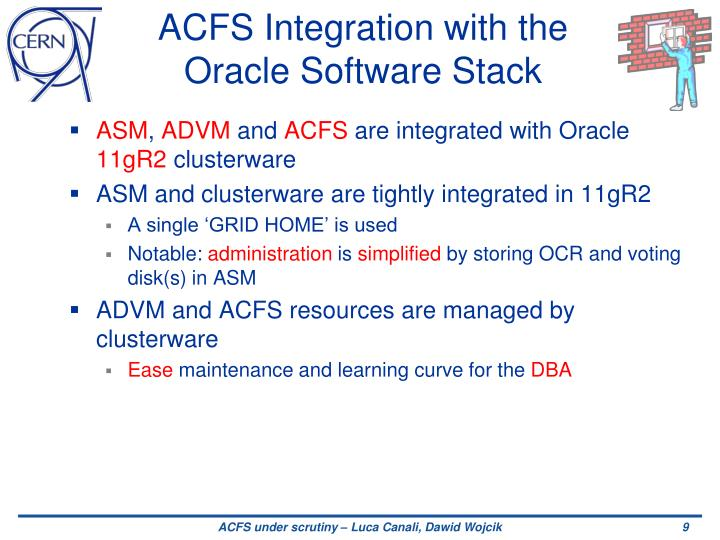 ACFS Integration with the Oracle Software Stack