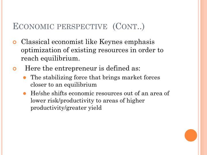 Economic perspective  (Cont..)