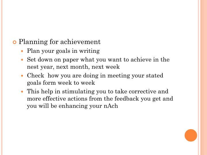 Planning for achievement