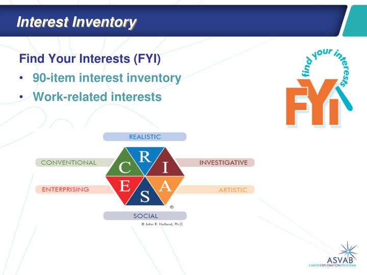 interest inventory Students complete an interest inventory and have a classmate read it to the entire class this will enable the class and the teacher to become more acquianted with each student similarities and differences will occur among the students.