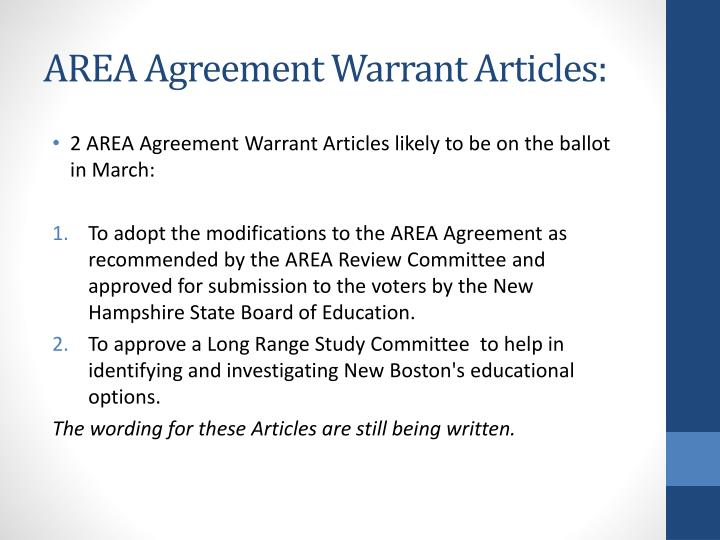 AREA Agreement Warrant Articles:
