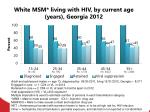 white msm living with hiv by current age years georgia 2012