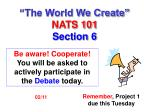the world we create nats 101 section 6