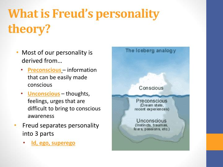 freuds theories on personality Sigmund freud developed psychodynamic theories on personality he believed that there are three elements to our personality the first is the id, the second is the ego, and the third is the superego.