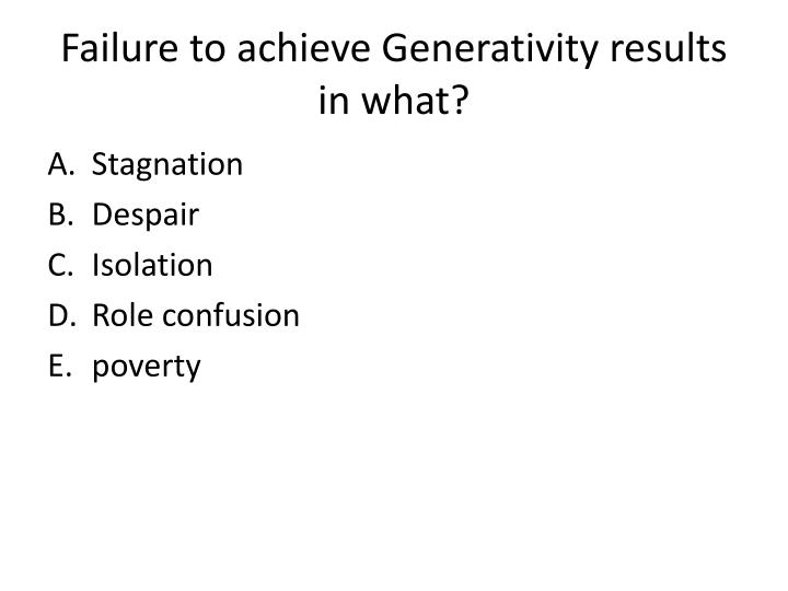 Failure to achieve Generativity results in what?