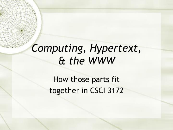 Computing, Hypertext,