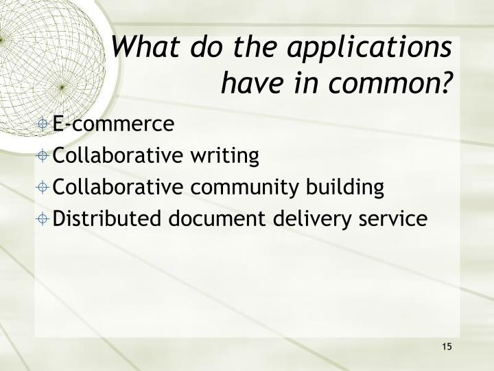 What do the applications have in common?