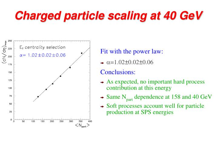 Charged particle scaling at 40 GeV