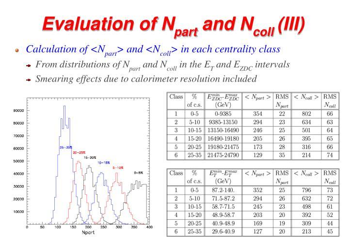 Evaluation of N
