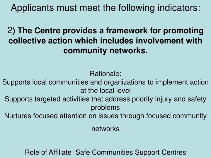 Applicants must meet the following indicators: