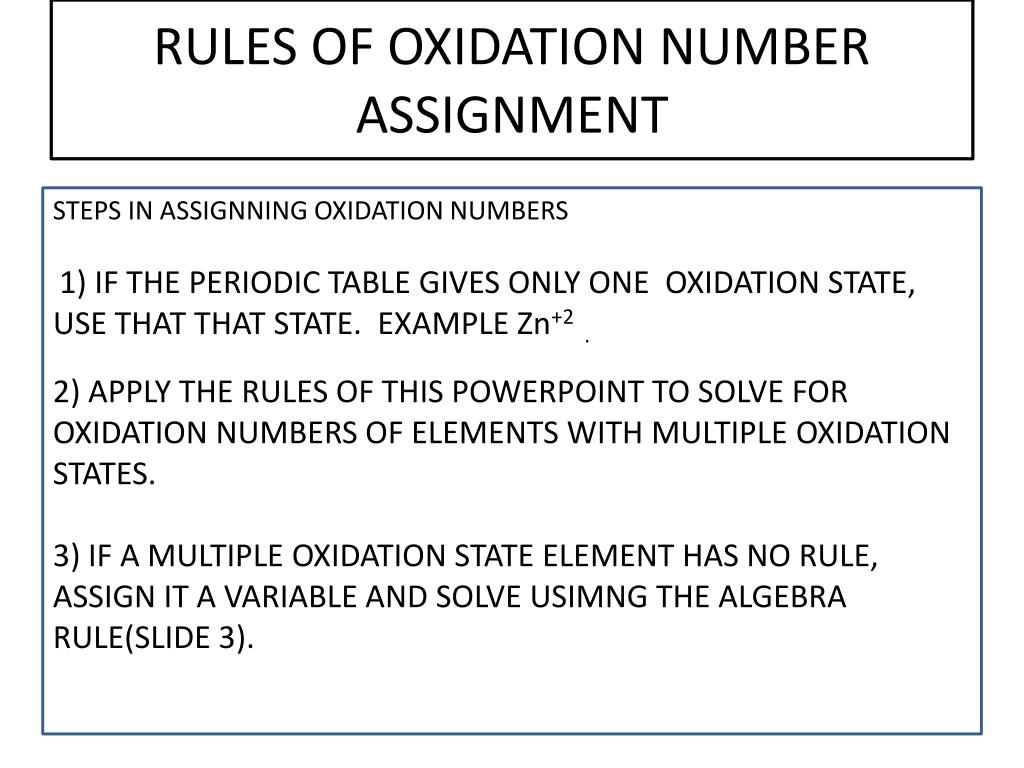 Ppt Rules Of Oxidation Number Assignment Powerpoint Presentation