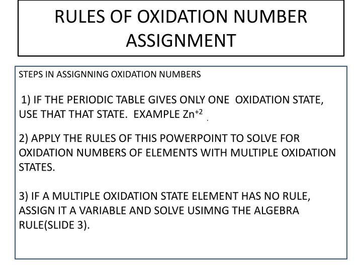Ppt rules of oxidation number assignment powerpoint presentation rules of oxidation numberassignment urtaz