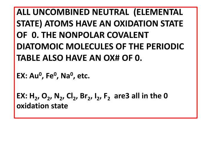 Ppt rules of oxidation number assignment powerpoint presentation all uncombined neutral elemental state atoms have an oxidation urtaz Gallery