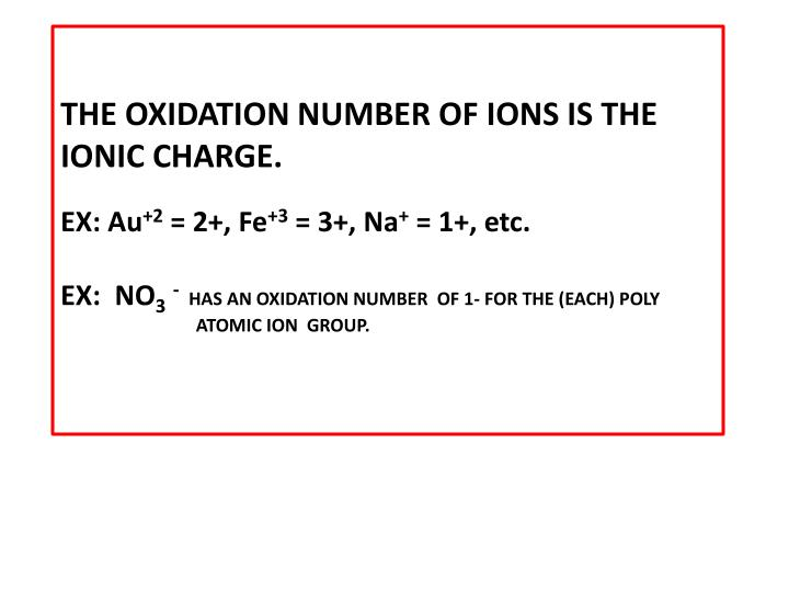 Ppt rules of oxidation number assignment powerpoint presentation the oxidation number of ions is the ionic chargeex au2 2 urtaz Choice Image