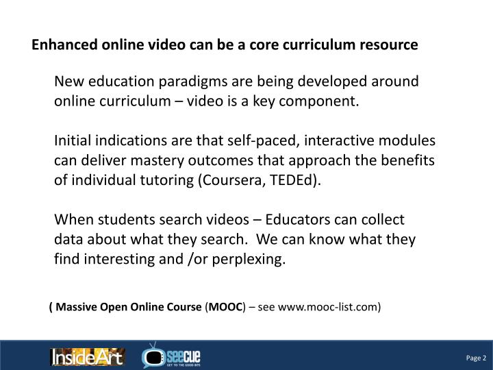 Enhanced online video can be a core curriculum resource