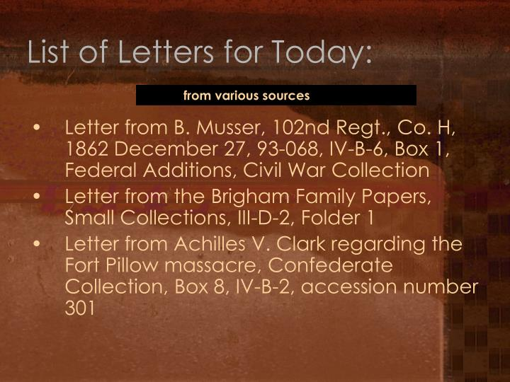 List of letters for today