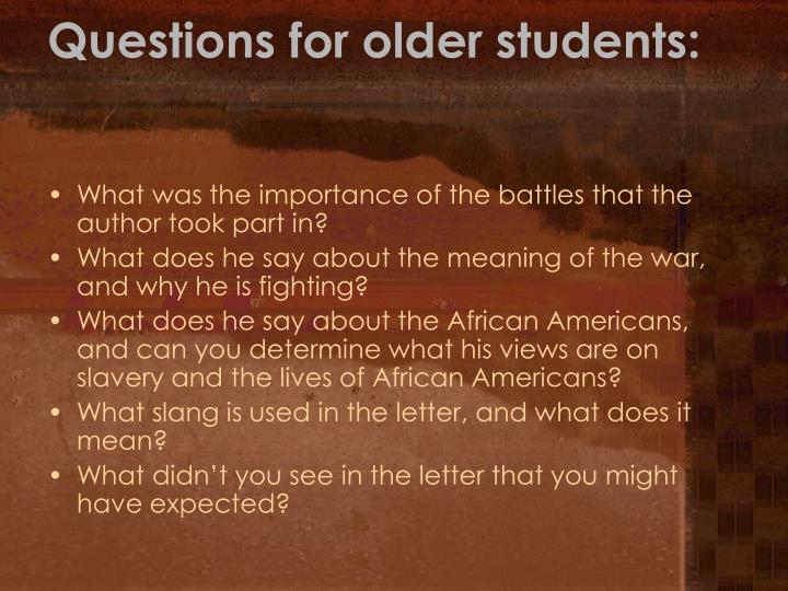 Questions for older students: