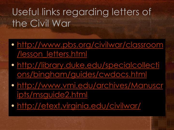 Useful links regarding letters of the Civil War