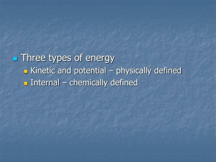 Three types of energy