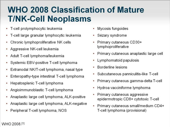 Who 2008 classification of mature t nk cell neoplasms