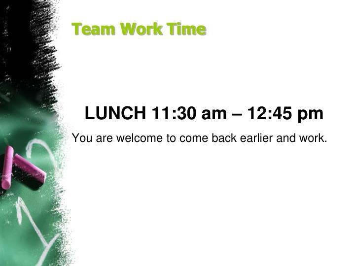 Team Work Time