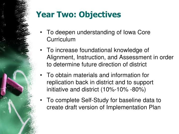 Year two objectives