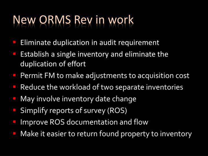 New ORMS Rev in work