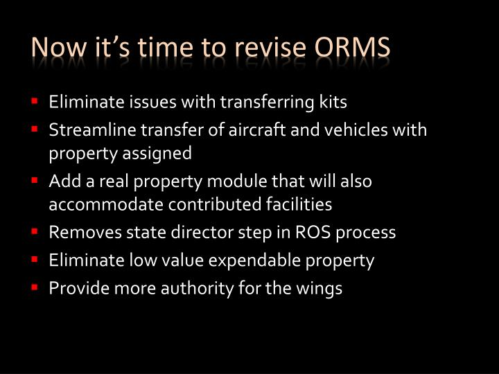 Now it's time to revise ORMS