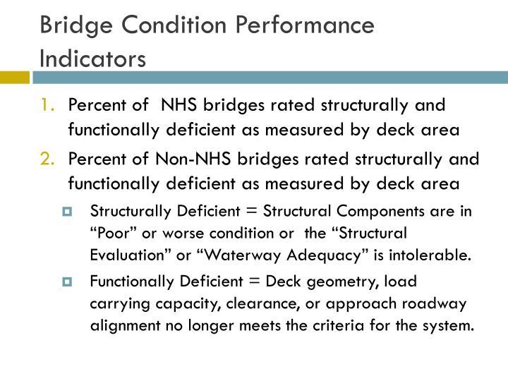 Bridge condition performance indicators