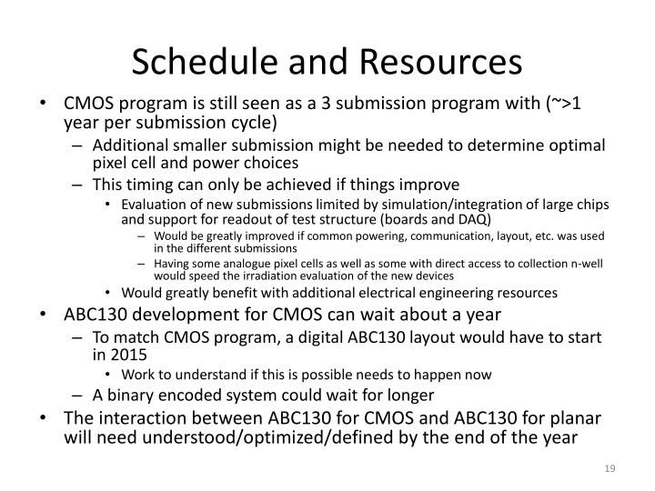 Schedule and Resources