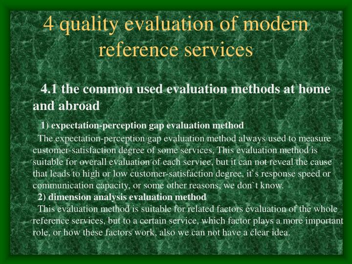 4 quality evaluation of modern reference services