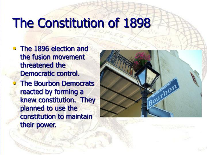 The 1896 election and the fusion movement threatened the Democratic control.