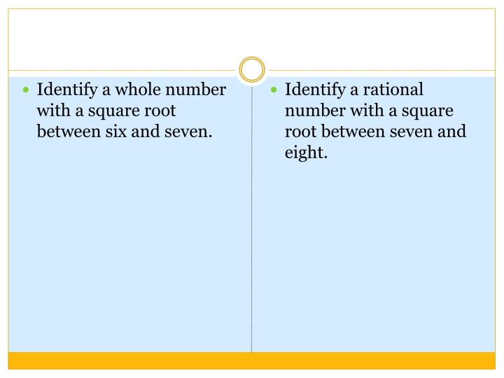 Identify a whole number with a square root between six and seven.