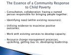 the essence of a community response to child poverty