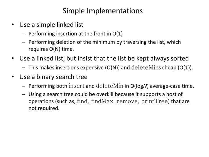 Simple Implementations