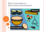two categories of percussion instruments