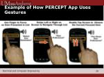 example of how percept app uses gestures
