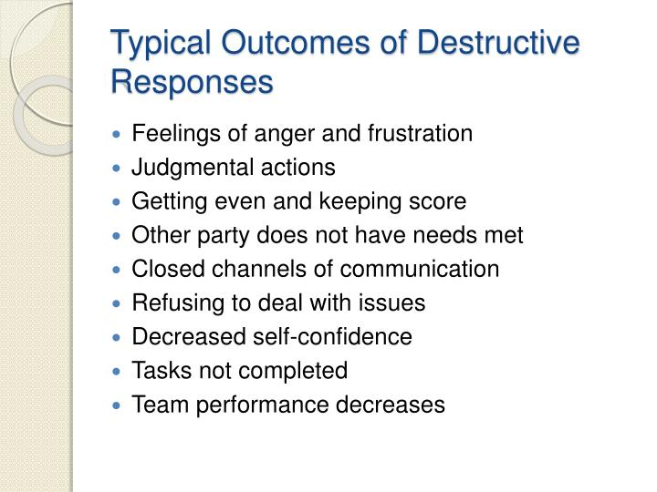 conflict can have a positive outcome Conflict management can include both preventive and  conflict can also have an effect on  increased or decreased performance is a conflict outcome of which the.