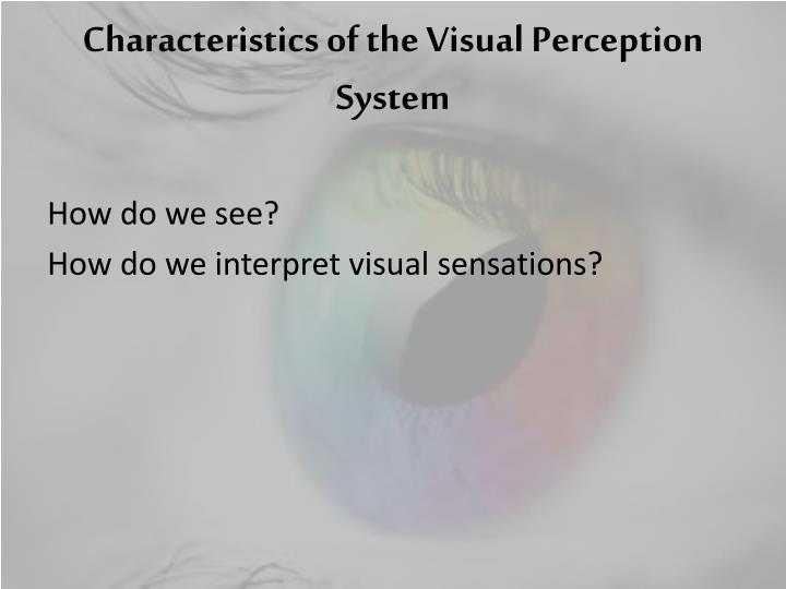 visual perception essay This chapter identifies visual perception of architecture record of visual conception through time will be briefly tracked dominance of visible sense will be question and before that the complete argument of its dominance will be set up through writings of famous philosophers, architects, designers etc.