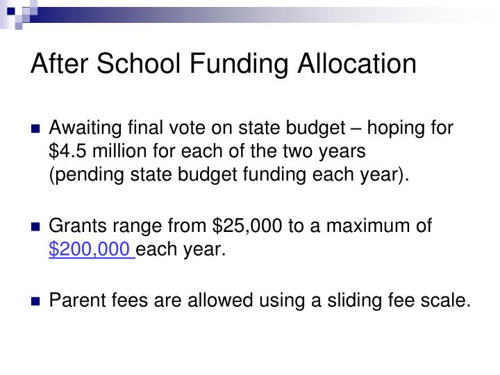 After School Funding Allocation