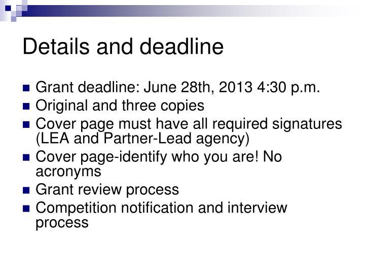 Details and deadline