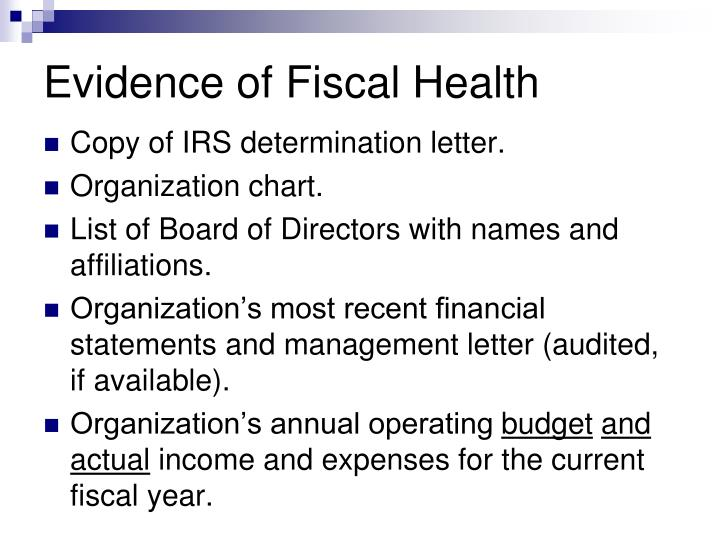Evidence of Fiscal Health