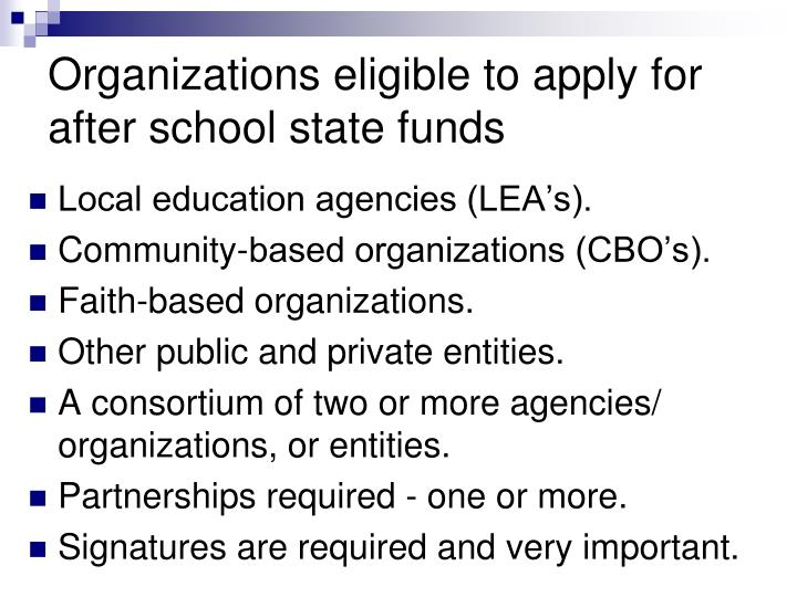 Organizations eligible to apply for after school state funds