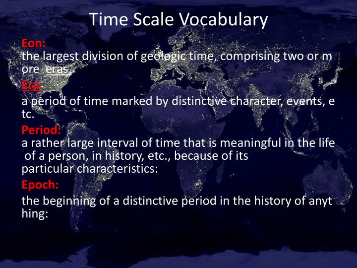 time scale vocabulary n.