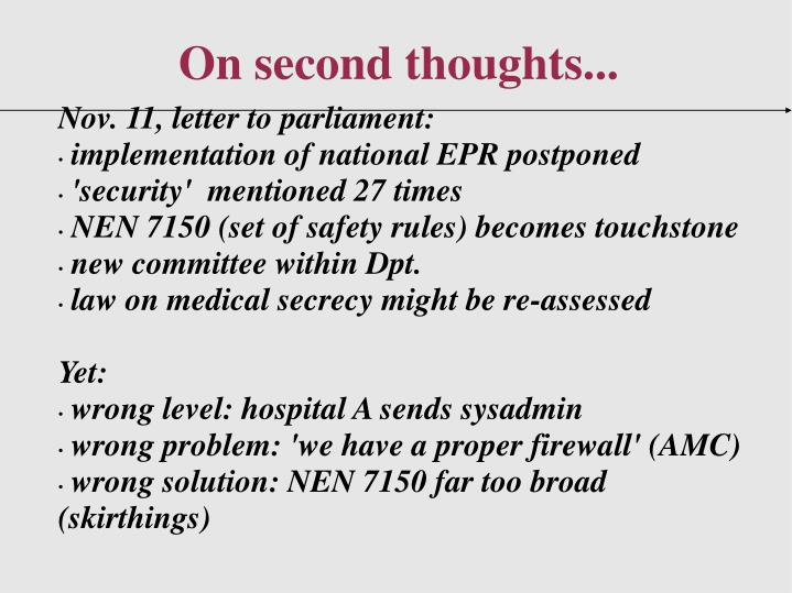 Nov. 11, letter to parliament: