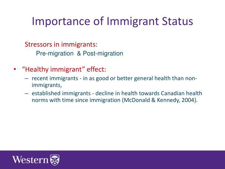 Importance of Immigrant Status