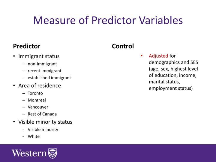 Measure of Predictor Variables