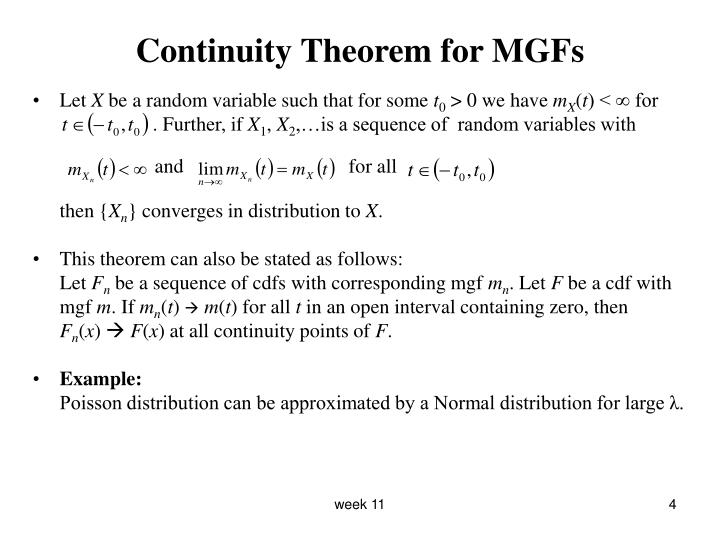 Continuity Theorem for MGFs