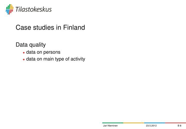 Case studies in Finland